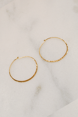 Gold Hoops - Hammered