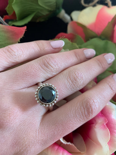 Silver ring onyx stone