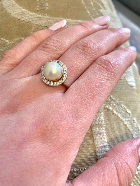 Silver pearl and cubic zicronia ring