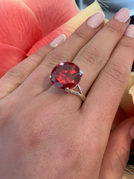 Silver red topaz ring