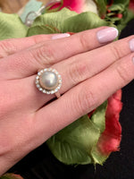 Silver pearl and flower cubic zirconia Ring