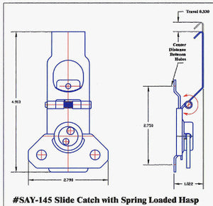 Slide catch with Spring Loaded Hasp Only Available in Black