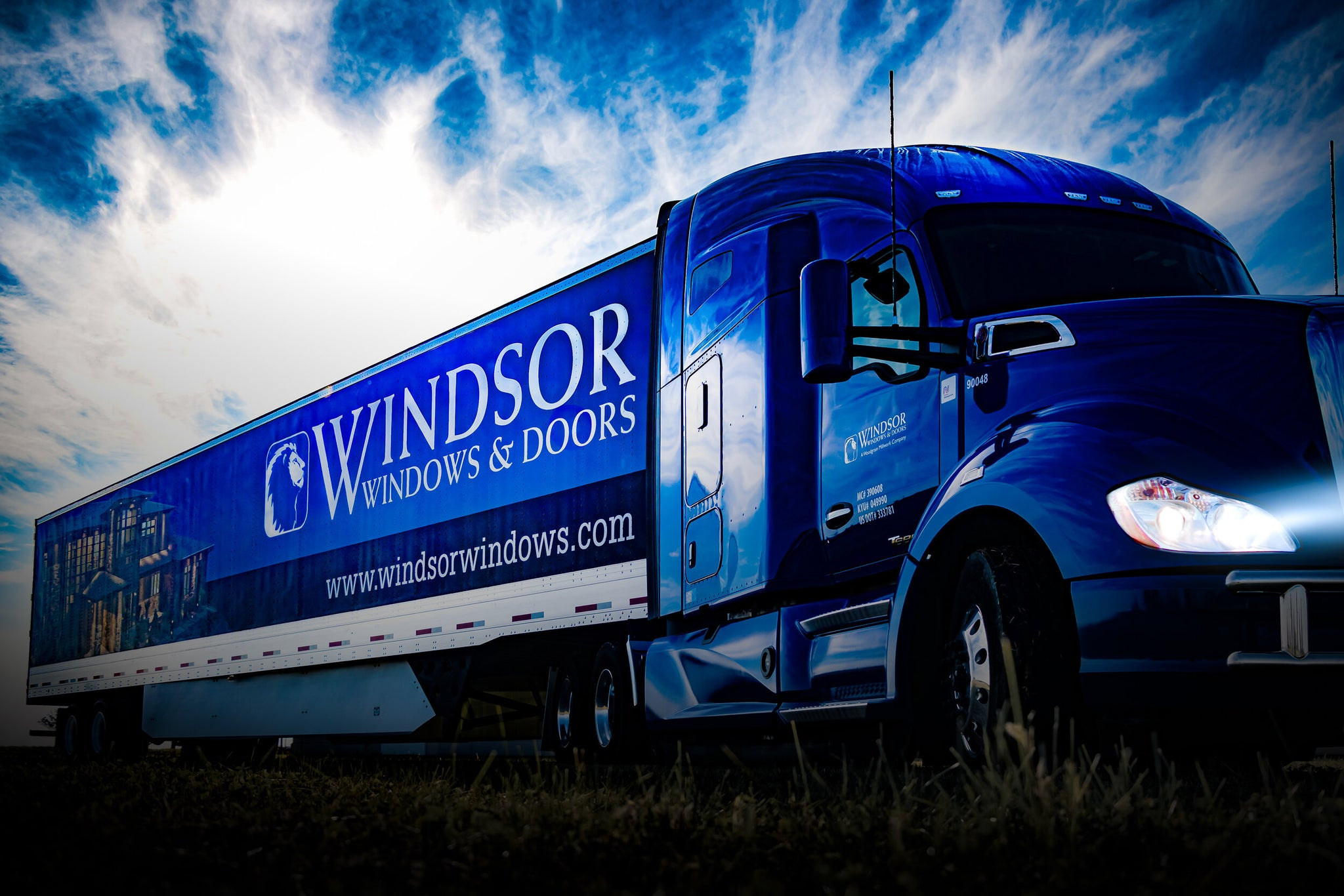 Windsor Windows and Doors new tractor and trailer with headlights on