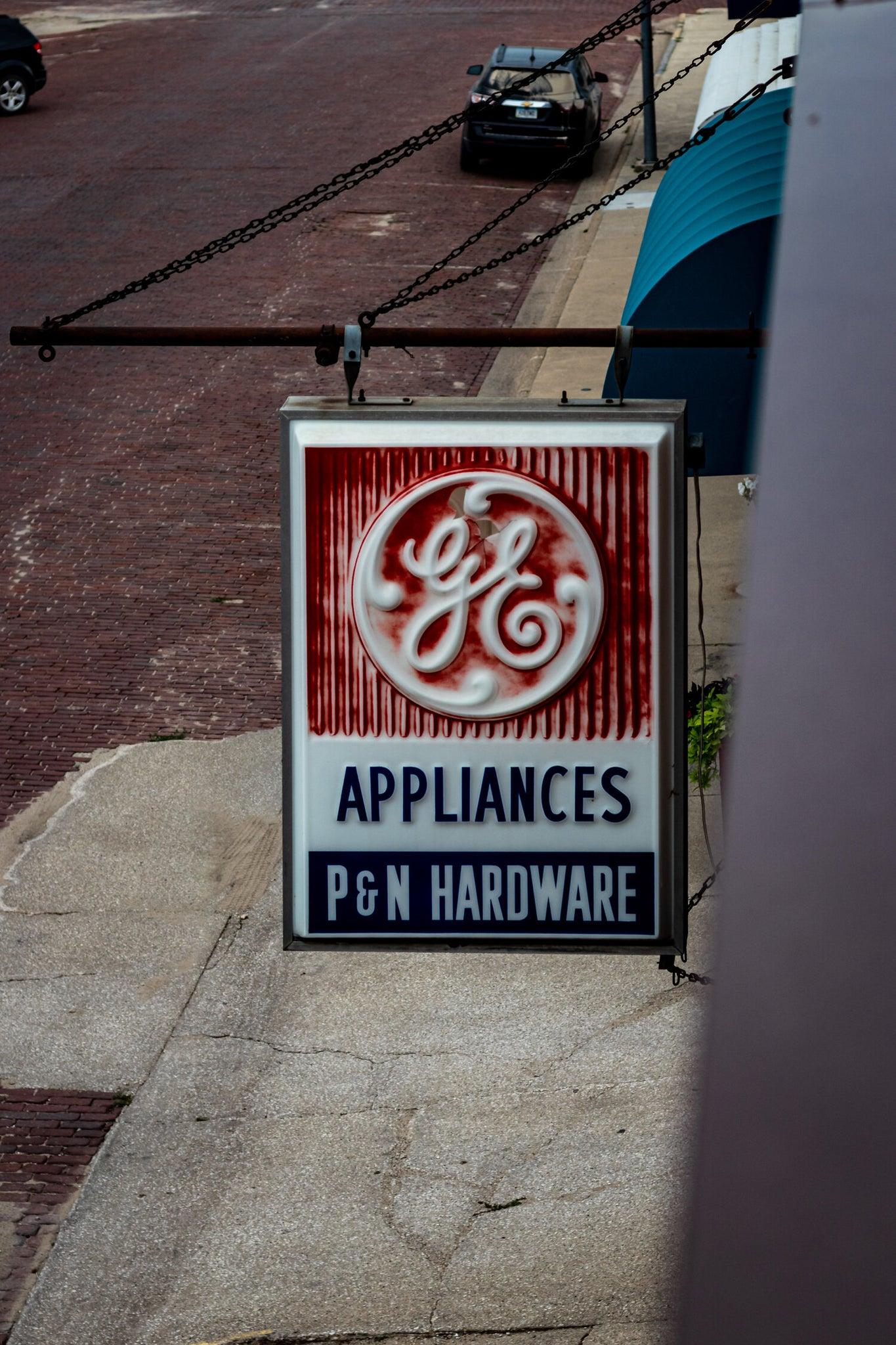 The old P&N hardware sign outside the building
