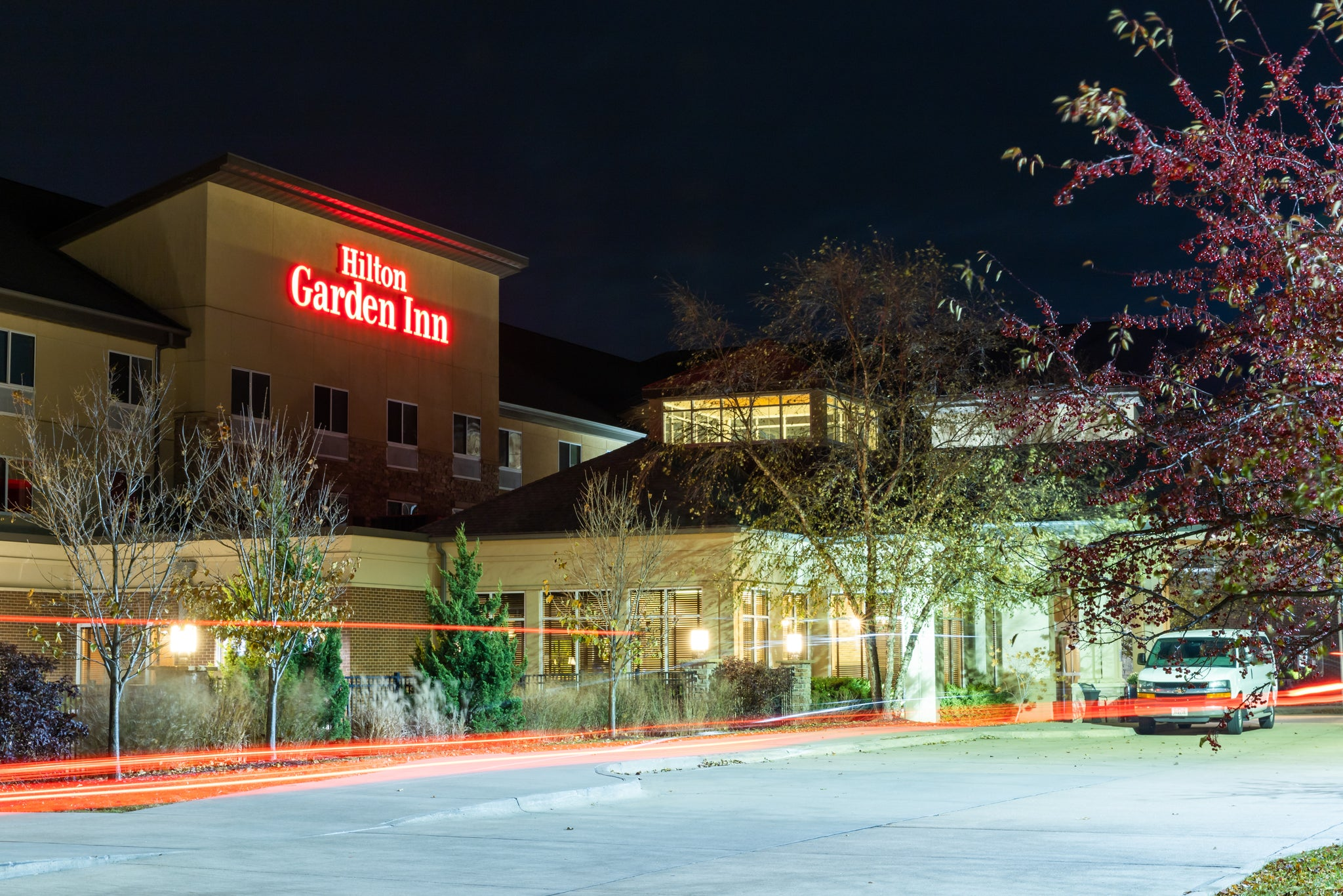 hilton garden inn exterior shot while night out