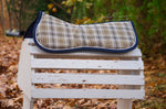 Load image into Gallery viewer, Custom Tan and Navy Plaid Comfort Memory Foam Half Pad and/or Cover