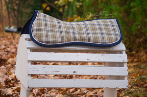 Custom Tan and Navy Plaid Comfort Memory Foam Half Pad and/or Cover