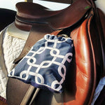 Load image into Gallery viewer, Custom Squares/Knots Print Reversible Stirrup Covers - Padded Ponies