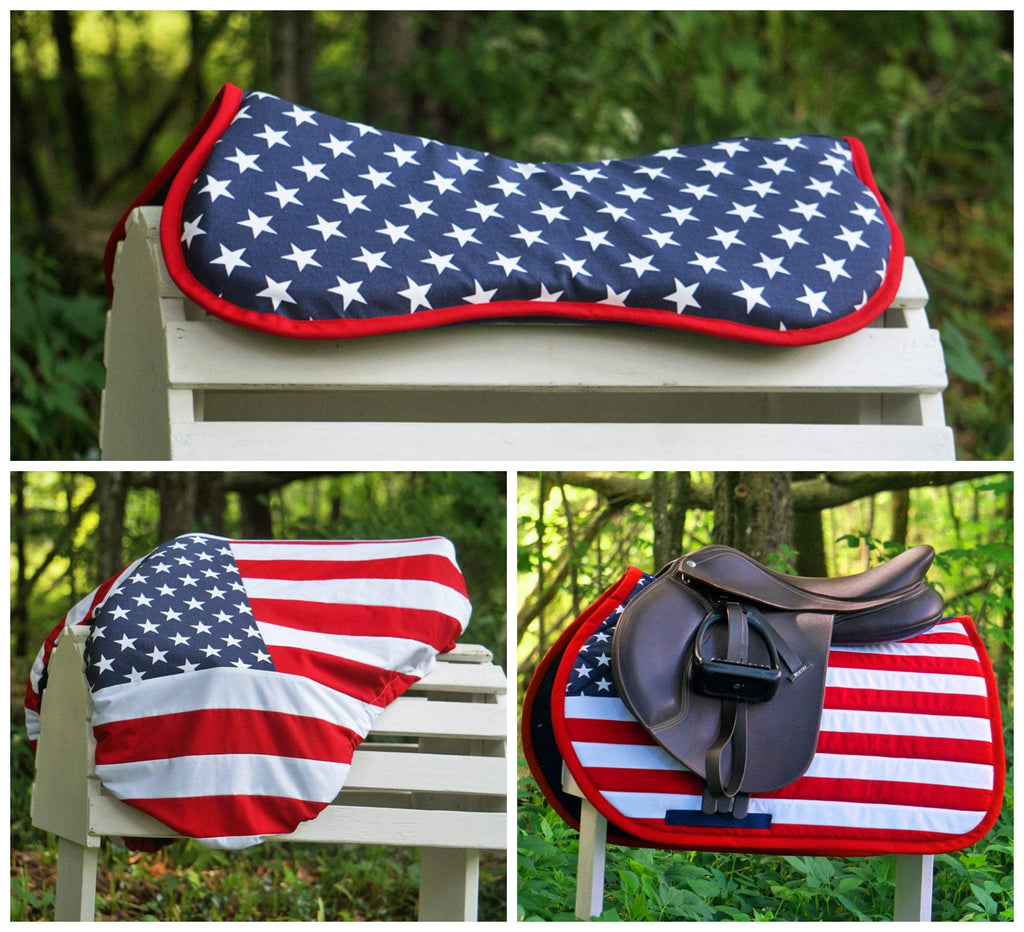 Custom Three Piece Set American/US Flag Saddle Pad, Comfort Memory Foam Half Pad, and Saddle Cover - Padded Ponies