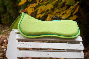 Ready to Ship Solid Lime Green Comfort Suede Memory Foam Half Pad with Emerald Green