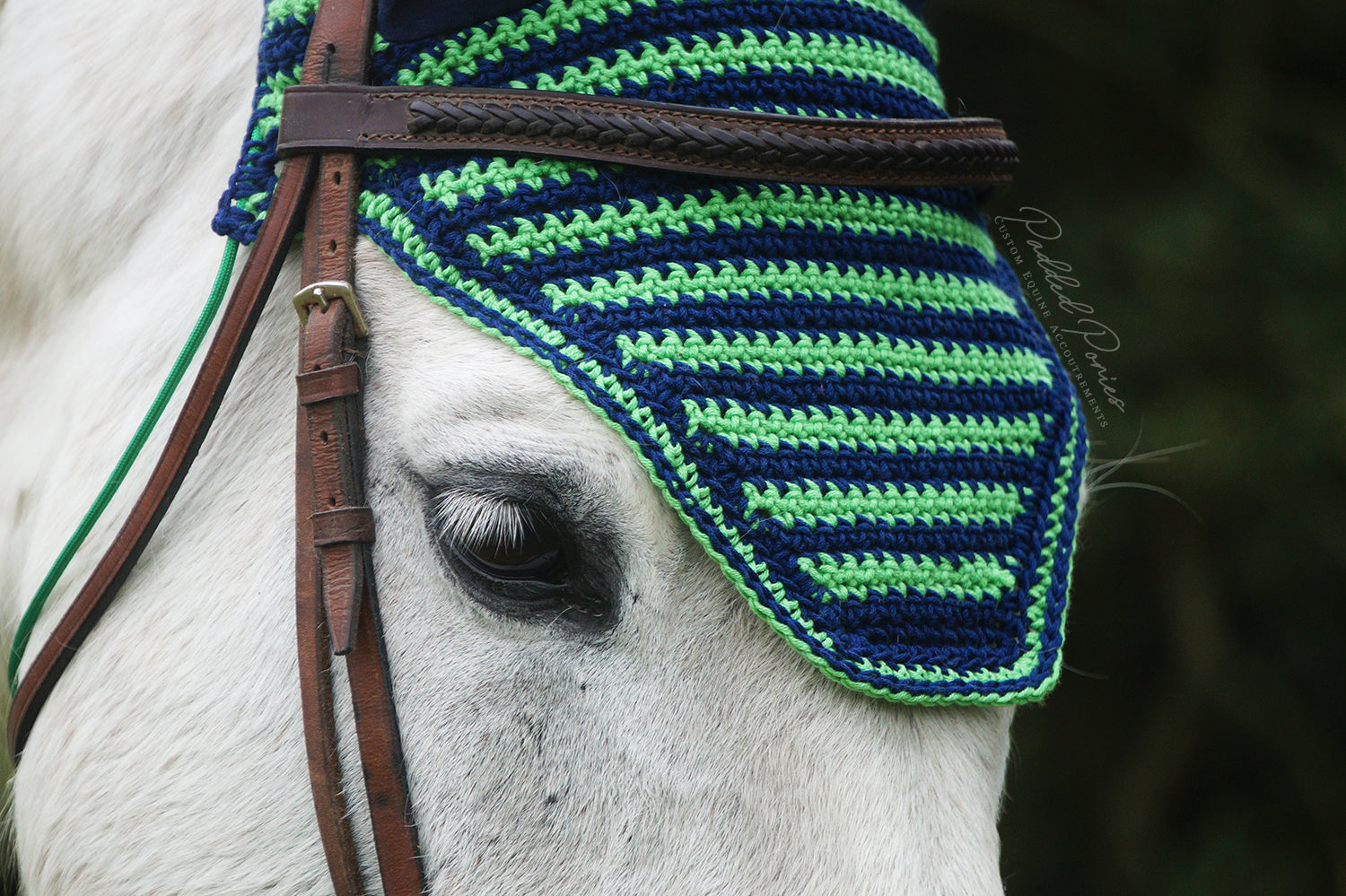 Ready to Ship Lime Green and Navy Blue Stripe Crochet Ear Fly Bonnet Horse Size