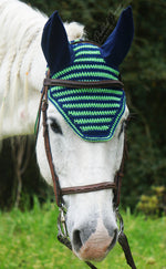 Load image into Gallery viewer, Ready to Ship Lime Green and Navy Blue Stripe Crochet Ear Fly Bonnet Horse Size
