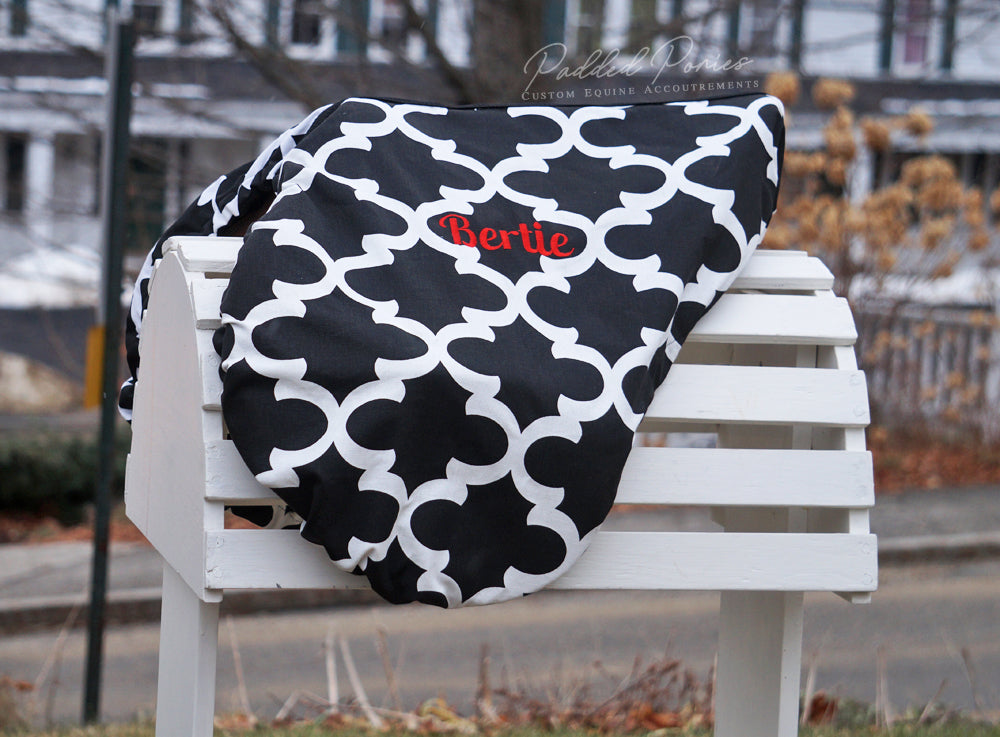 Custom Lattice Print Saddle Cover
