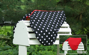 Custom Fleece Lined Polka Dot Saddle Cover