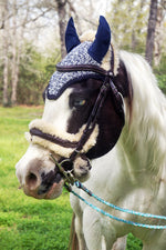 Load image into Gallery viewer, Ready to Ship Navy and White Heathered Crochet Ear Fly Bonnet Pony Size