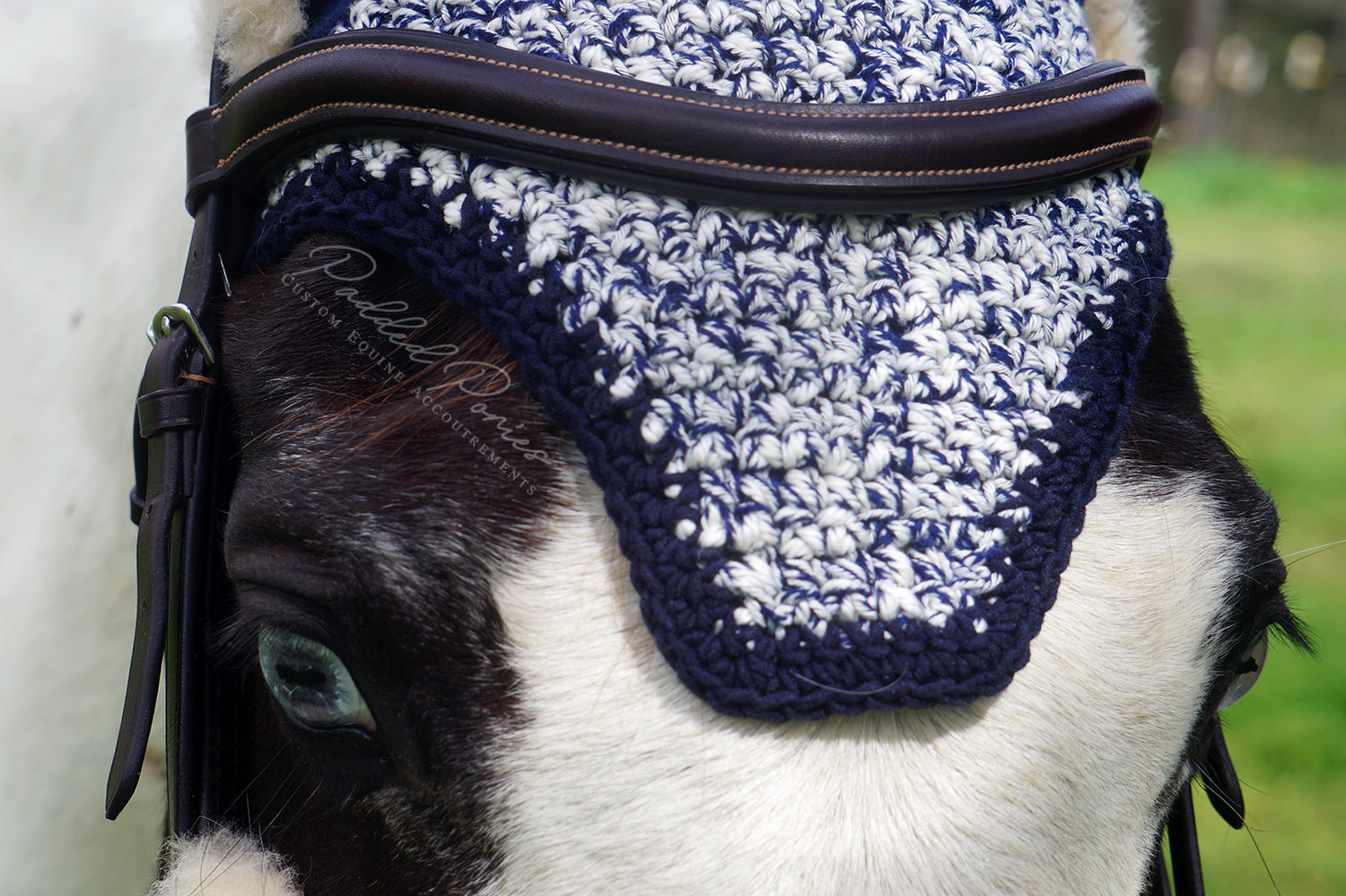 Ready to Ship Navy and White Heathered Crochet Ear Fly Bonnet Pony Size