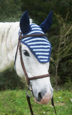 Load image into Gallery viewer, Ready to Ship Navy and Light Blue Stripe Crochet Ear Fly Bonnet Horse Size