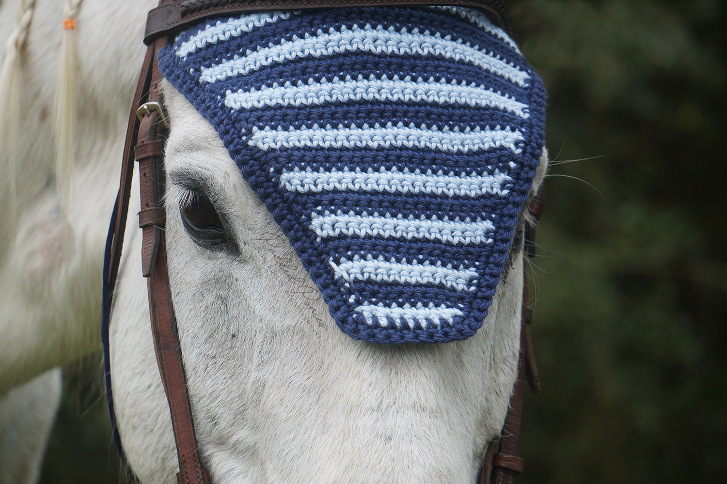 Ready to Ship Navy and Light Blue Stripe Crochet Ear Fly Bonnet Horse Size