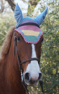 Ready to Ship Pastel Rainbow Stripe Crochet Ear Fly Bonnet Horse Size