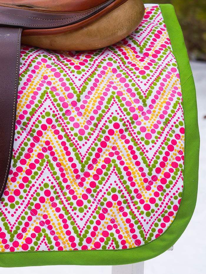 Ready to Ship Baby Saddle Pad Pink and Apple Green Dot Chevron - Padded Ponies