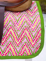 Load image into Gallery viewer, Ready to Ship Baby Saddle Pad Pink and Apple Green Dot Chevron - Padded Ponies