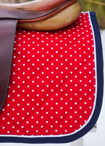 Ready to Ship Baby Saddle Pad Red, White, and Navy Pin Dot - Padded Ponies
