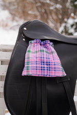Load image into Gallery viewer, Ready to Ship Reverislbe Stirrup Covers  Pink and Royal Blue Plaid - Padded Ponies