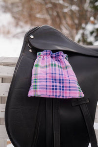 Ready to Ship Reverislbe Stirrup Covers  Pink and Royal Blue Plaid - Padded Ponies