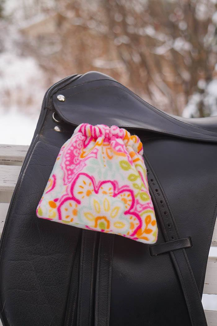 Ready to Ship Reversible Stirrup Covers Pink, Green, and Orange Paisley Floral - Padded Ponies