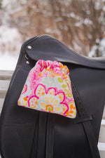 Load image into Gallery viewer, Ready to Ship Reversible Stirrup Covers Pink, Green, and Orange Paisley Floral - Padded Ponies