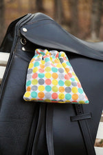 Load image into Gallery viewer, Ready to Ship Reversible Stirrup Covers Rainbow Circle Dots with Gray - Padded Ponies