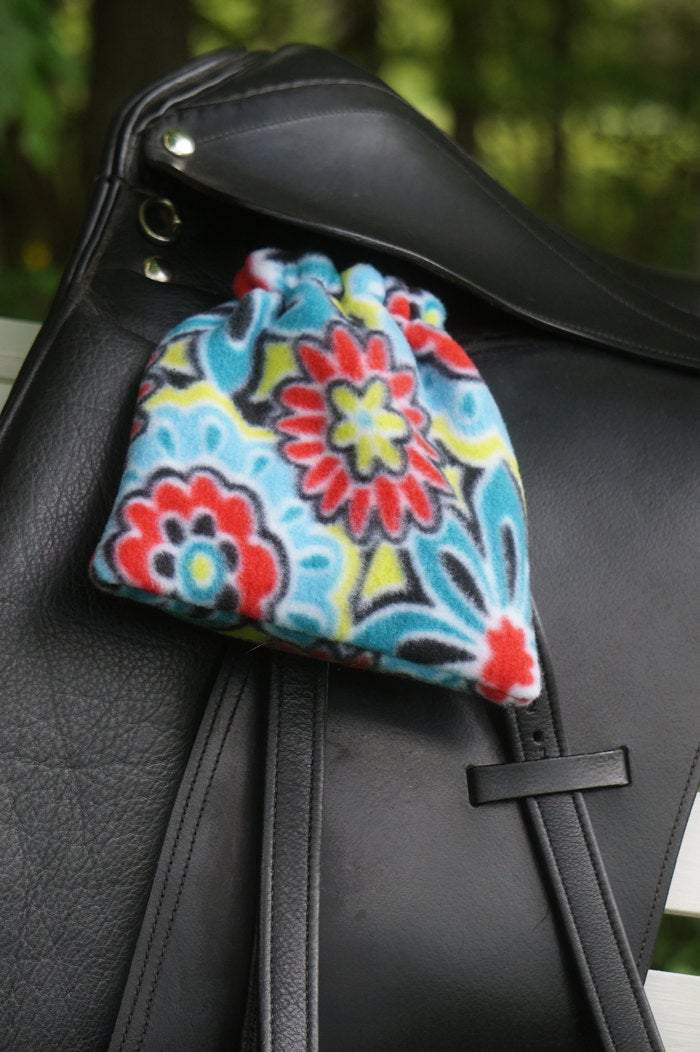 Ready to Ship Reversible Stirrup Covers Red, Black, and Turquoise Floral - Padded Ponies