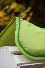 Load image into Gallery viewer, Ready to Ship Solid Lime Green Comfort Suede Memory Foam Half Pad with Emerald Green - Padded Ponies