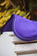 Load image into Gallery viewer, Ready to Ship Solid Purple Suede Comfort Memory Foam Half Pad with Lavender - Padded Ponies