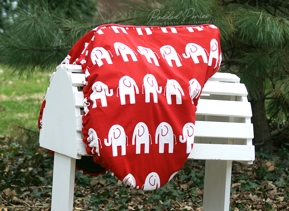 Custom Fleece Lined Elephants Saddle Cover