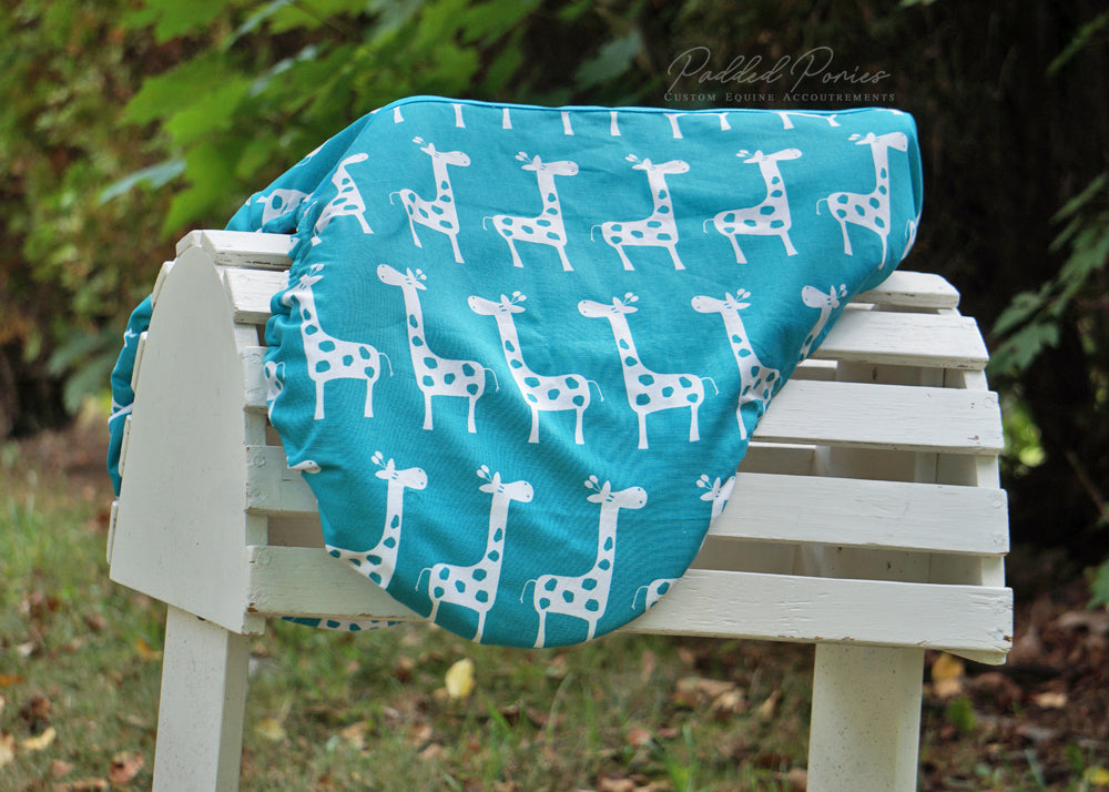 Custom Fleece Lined Giraffes Saddle Cover