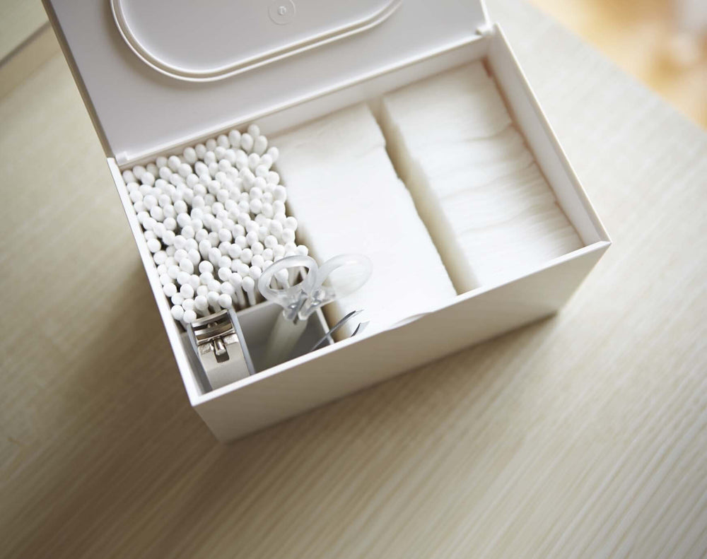 Yamazaki's white rectangular resin Cotton Case for holding cotton hygiene products