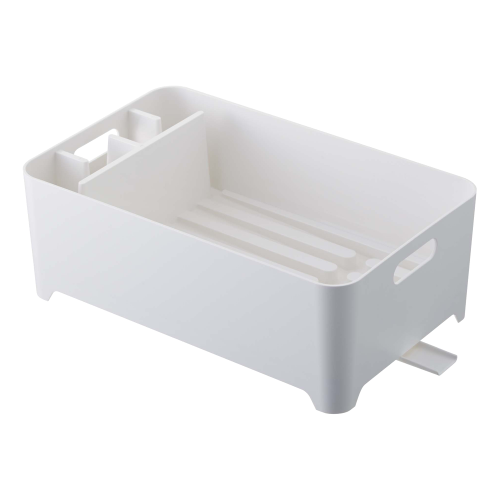 Yamazaki's white dish drainer with compartment.