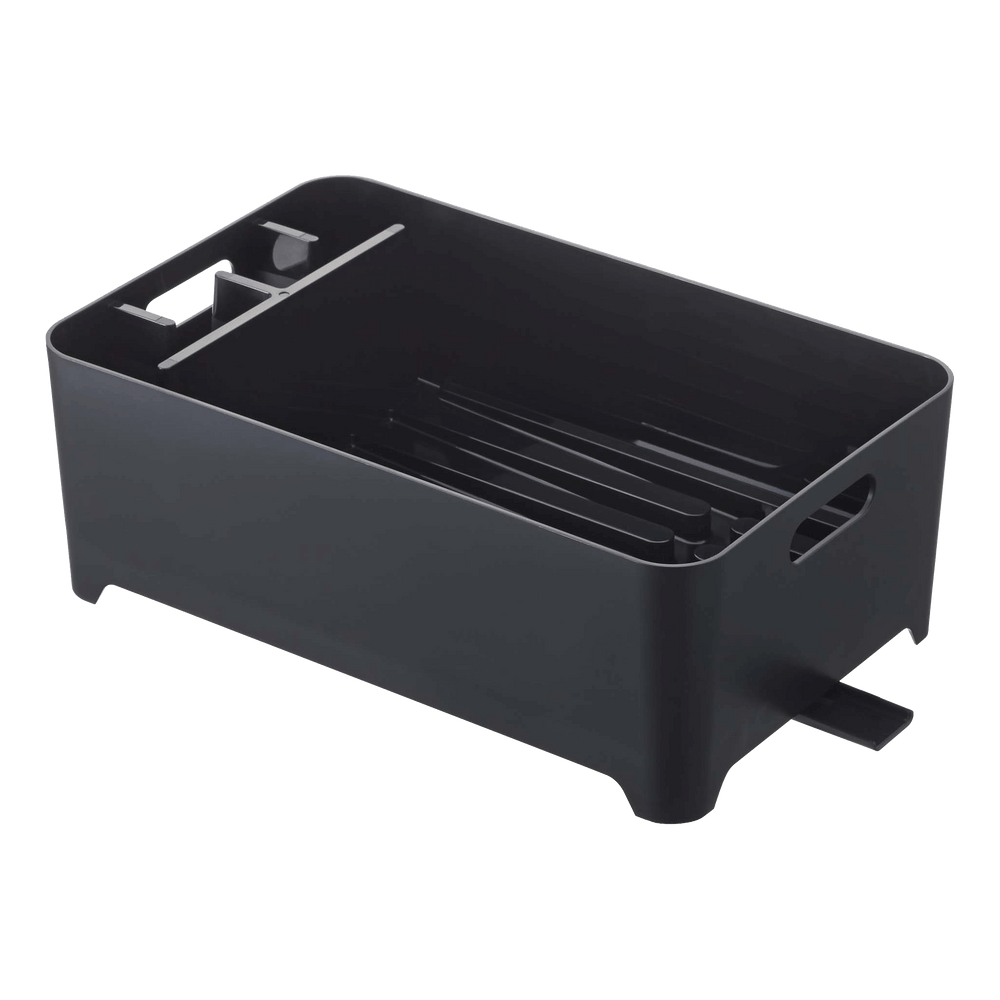Yamazaki's black dish drainer with compartment.
