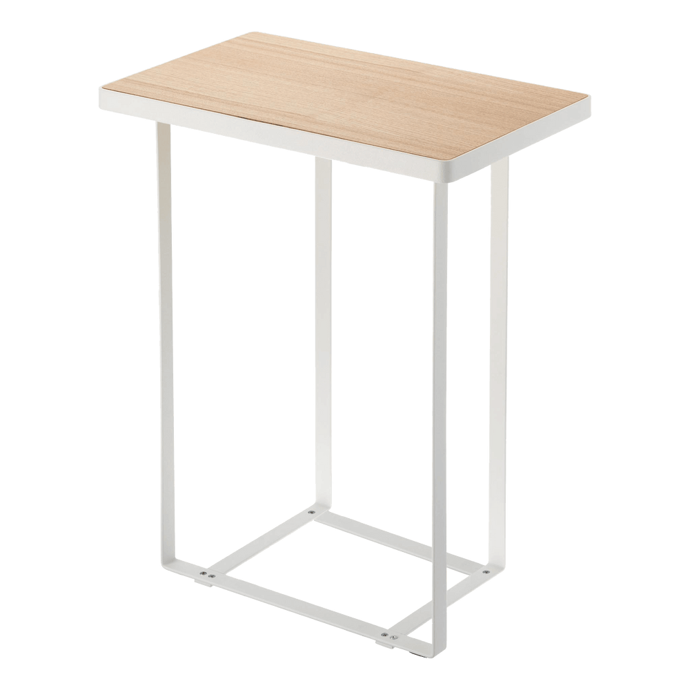 Yamazaki's White accent table with wood top and space for magazine or large-format books below