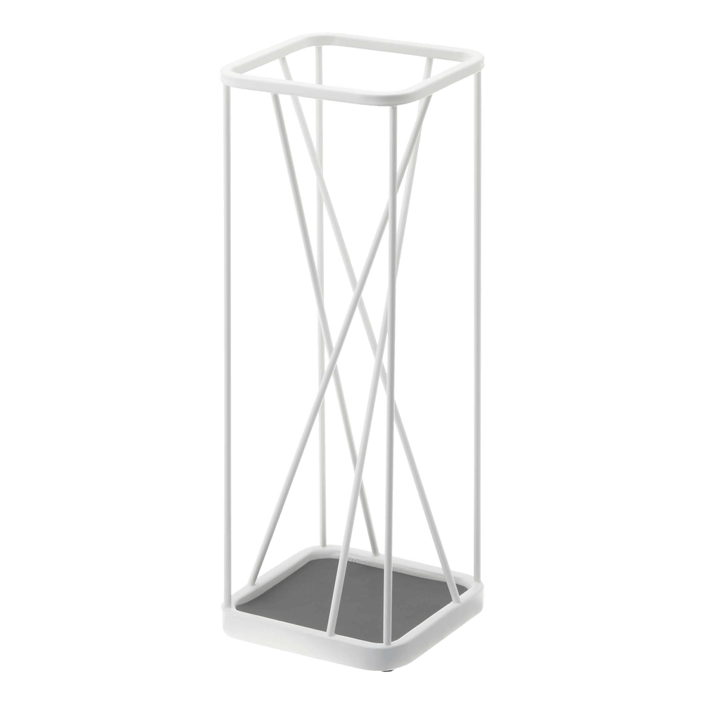 An umbrella stand designed with criss-crossing lines from Yamazaki
