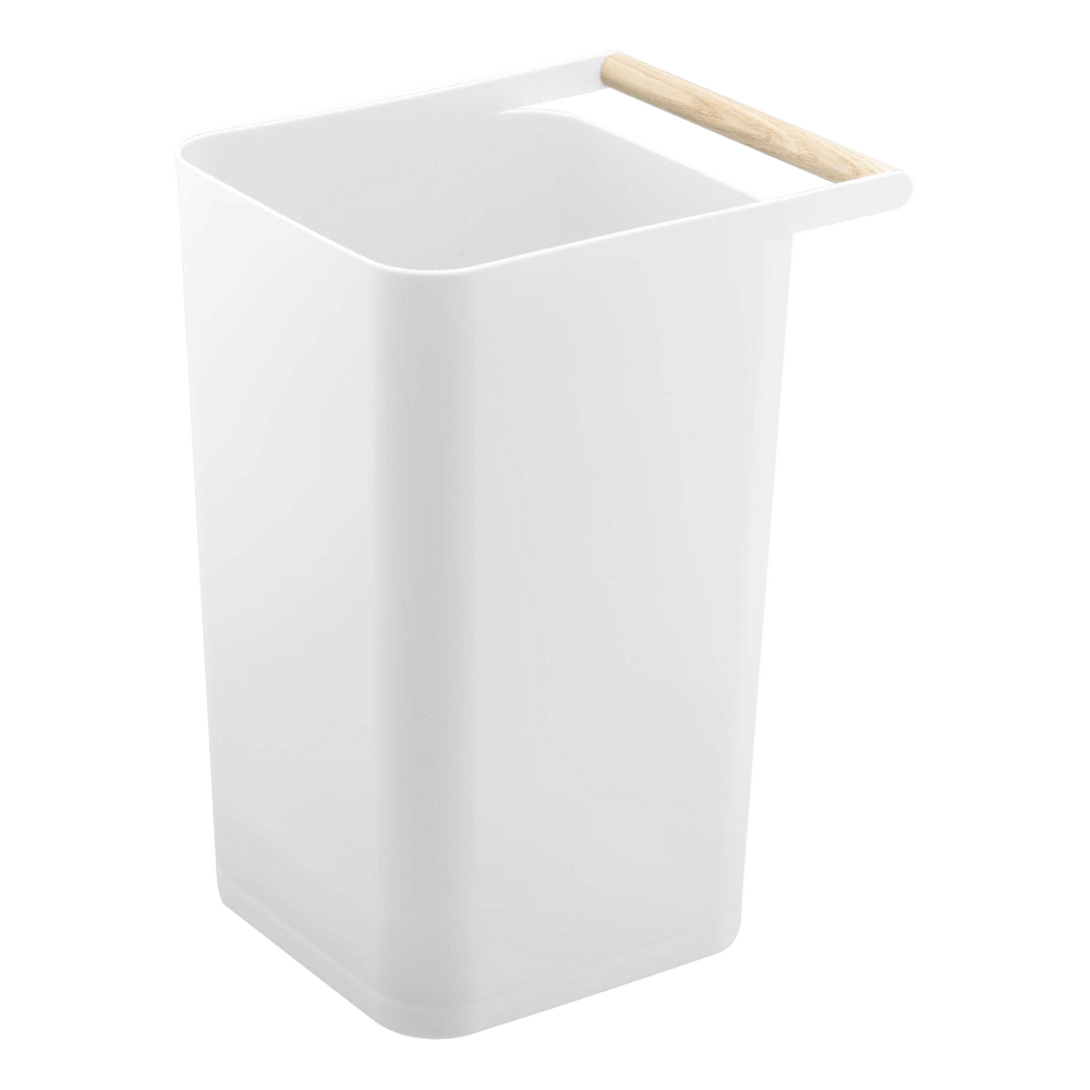 Simple wastebasket with wooden handle by Yamazaki in white