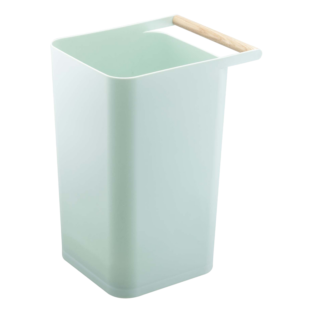 Simple wastebasket with wooden handle by Yamazaki in green