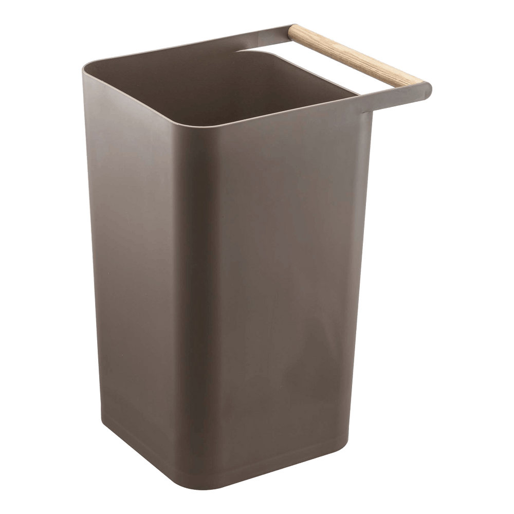 Simple wastebasket with wooden handle by Yamazaki in brown