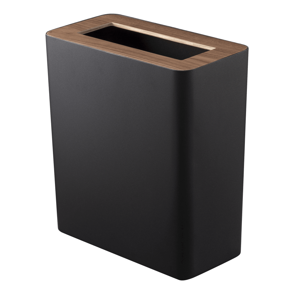 Black rectangular Yamazaki trash can with wooden top