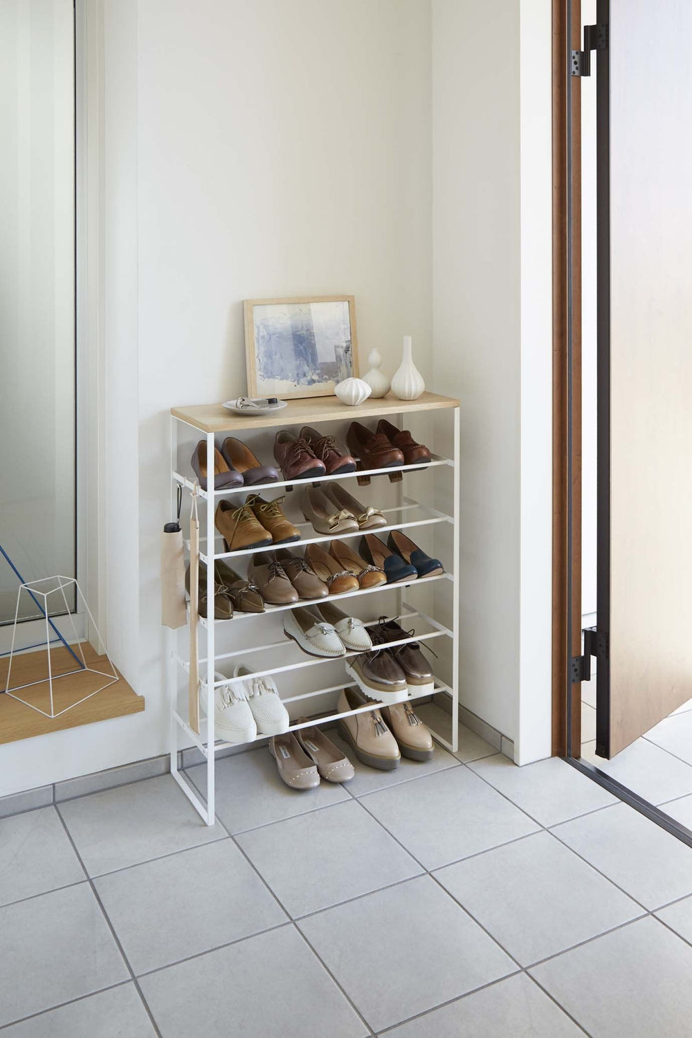 Yamazaki's White 6 Tier Wood Top Shoe Rack on a white background