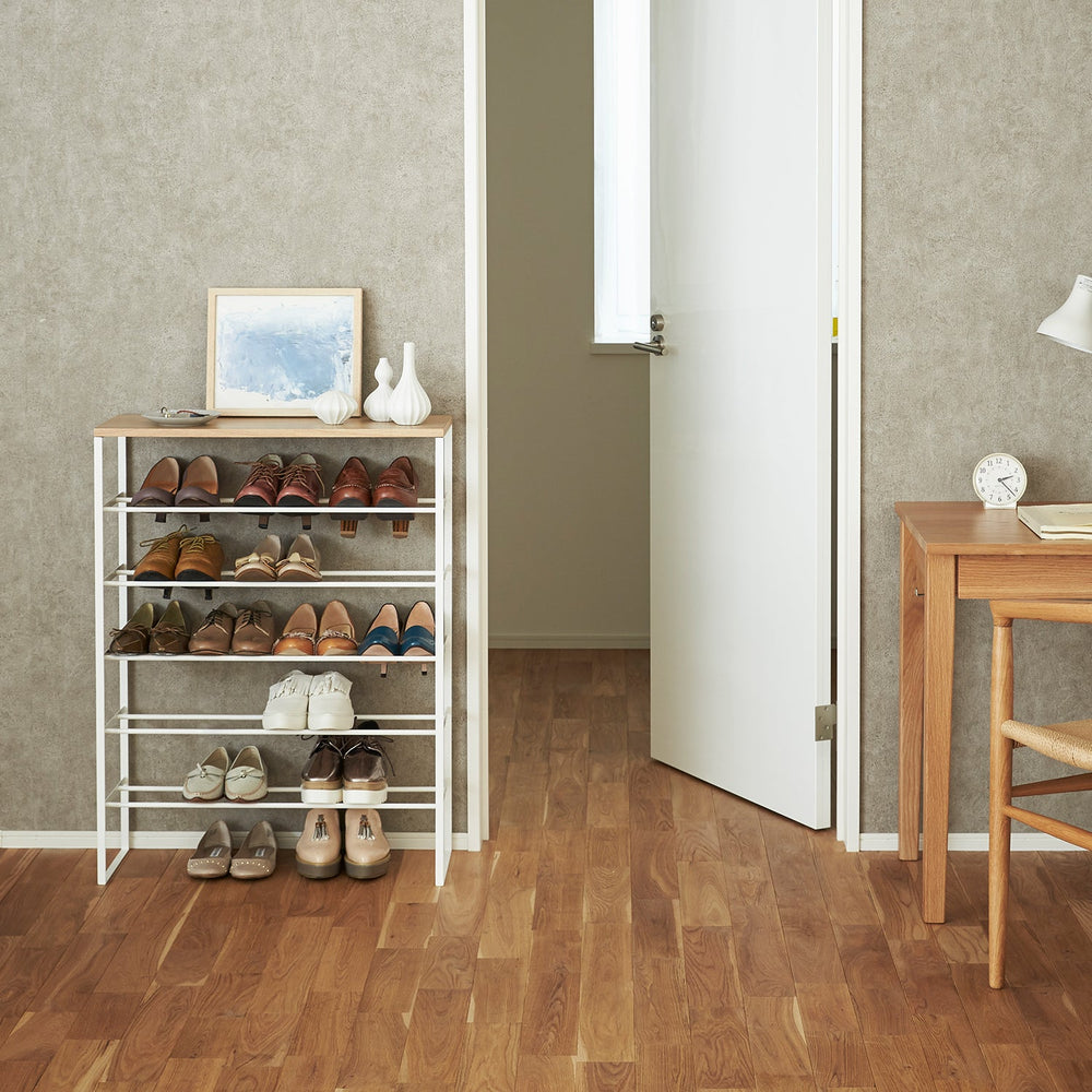 6-Tiered Shoe Rack with Wooden Top Board