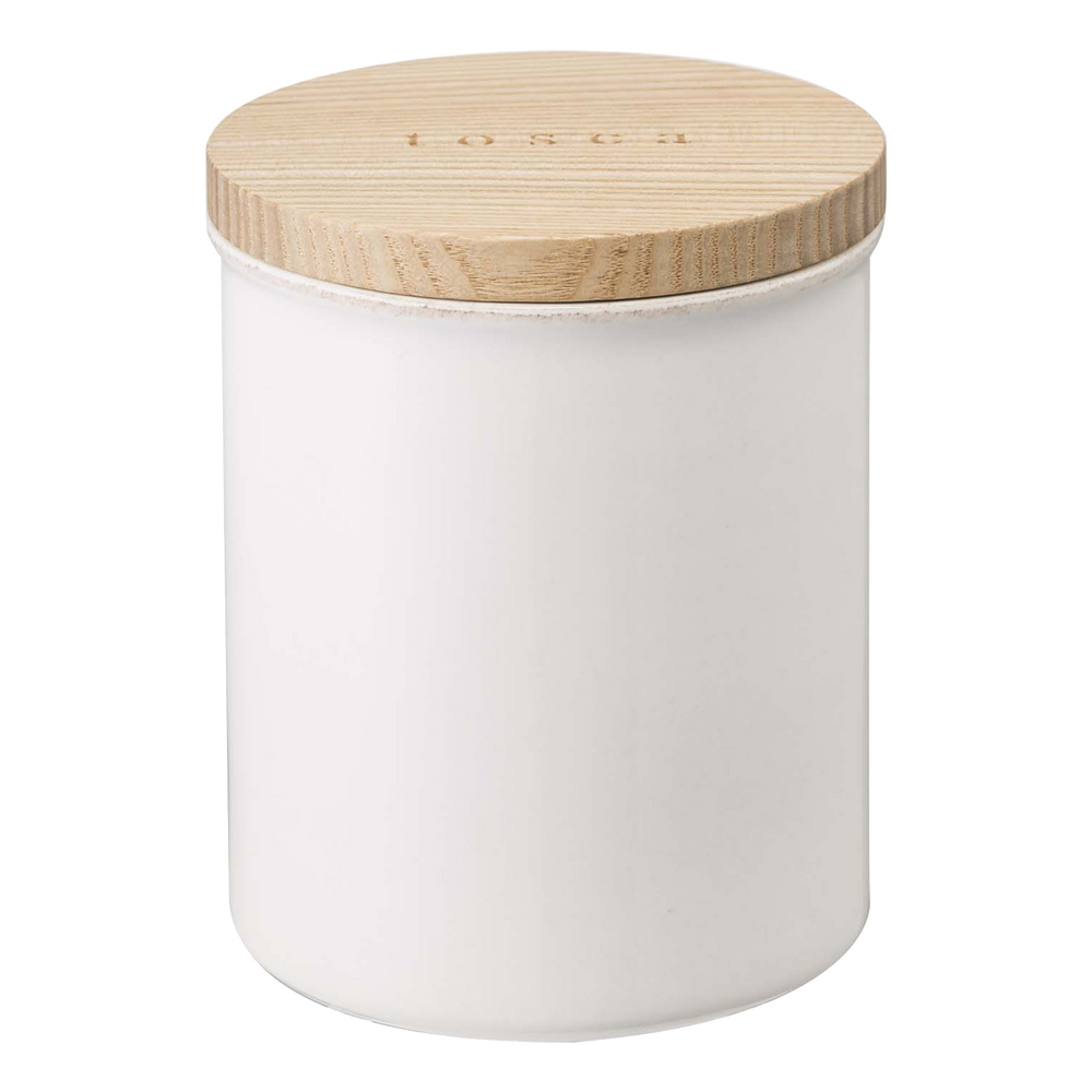 Product image of White ceramic Yamazaki canister with wooden lid