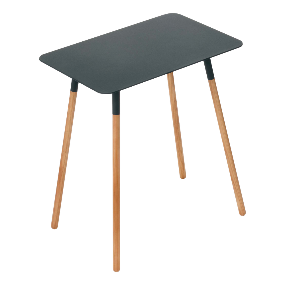 Black rectangular Yamazaki side table with wooden legs.