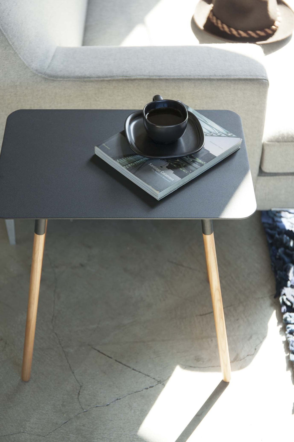 Rectangular Yamazaki side table with wooden legs